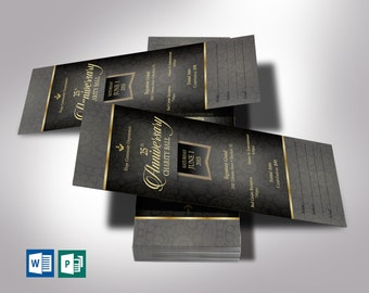 """Black Banquet Ticket Word Publisher Template   Anniversary Galas   Editable Colors   2 Sides   Size: 3.25""""x8"""""""
