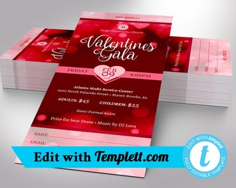 Valentines Gala Ticket Templett - Editable in any web browser on templett.com