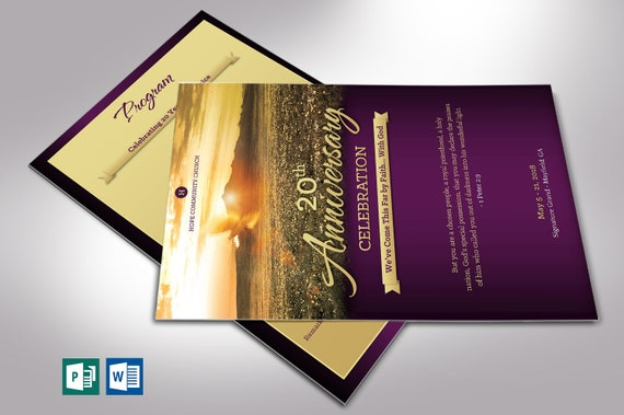 Church Anniversary Program One Sheet Word Publisher Template 2 Sides Editable Colors 5 5 8 5