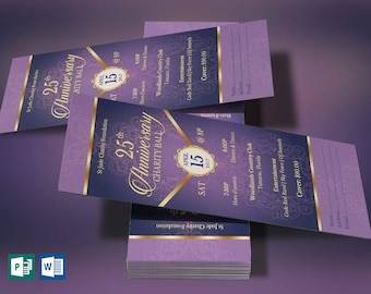 """Purple Gold Anniversary Banquet Ticket Word Publisher Template   Size: 3""""x7"""""""