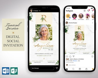Tropica Funeral Digital Invitation Word Publisher Template | 2 Sizes | 1080x1080 Pixels (square) and 1080x1920 Pixels (rectangle)