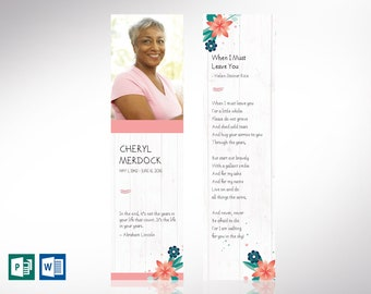 """Spring Funeral Bookmark Word Publisher Template 