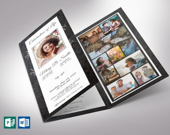 """Graystone Trifold Funeral Program Word Publisher Template 