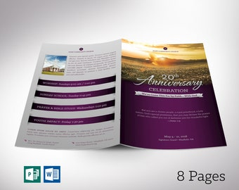 """Church Anniversary Program Word Publisher Template 