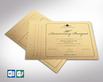 """Golden Anniversary Banquet Ticket Word Publisher Template   9 Backgrounds   Size: 7""""x5"""""""