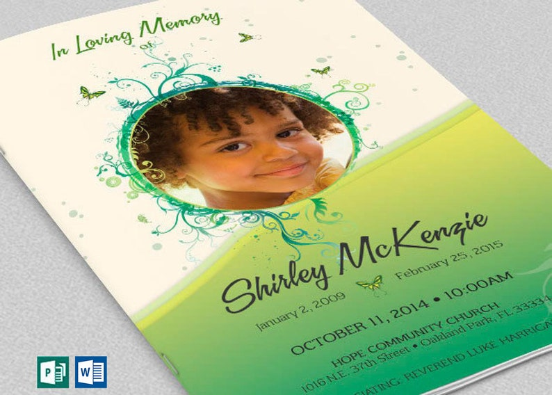 Green Princess Funeral Program Word Publisher Template  4 image 0