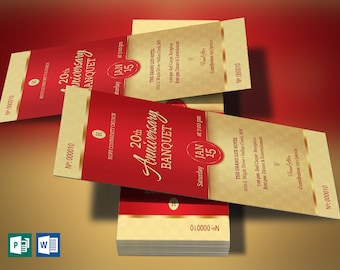 """Red Church Anniversary Banquet Ticket Word Publisher Template   Size: 3""""×6"""""""