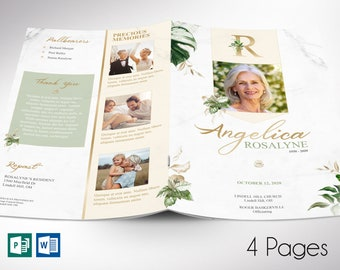 """Tropica Funeral Program Word Publisher Template   4 Pages   *Editable Colors   Print size: 8.5""""x11""""   Bi-fold to 5.5""""x8.5"""""""