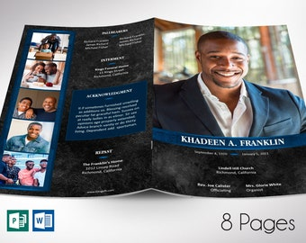 """Blue Rock Funeral Program Word Publisher Template 