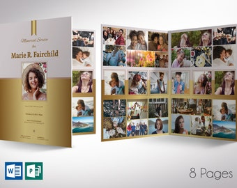 """Golden Funeral Program Word Publisher Large Template 