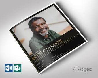 """Diamond Square Funeral Program Word Publisher Template 