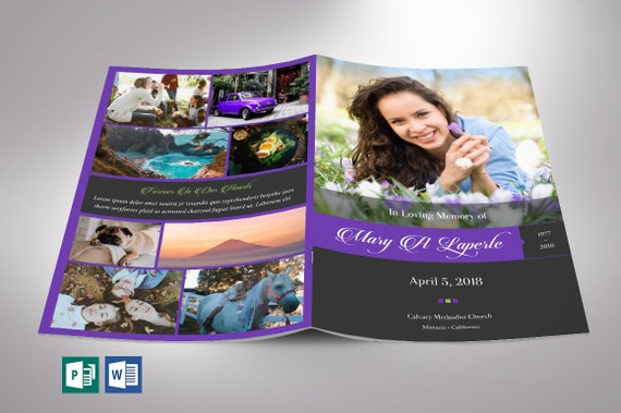 Publisher Template   Remember Purple Funeral Program Word Publisher Template 8 Etsy