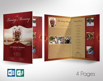 """Loving Funeral Program Word Publisher Large Template V1 