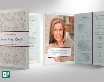 Vintage Rose Funeral Program Publisher Large Template