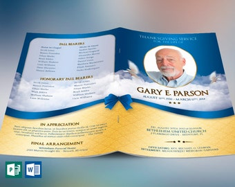 """Blue Ribbon Funeral Program Word Publisher Template   4 Pages   Print Size: 8.5""""x11""""   Bi-fold to 5.5""""x8.5"""""""