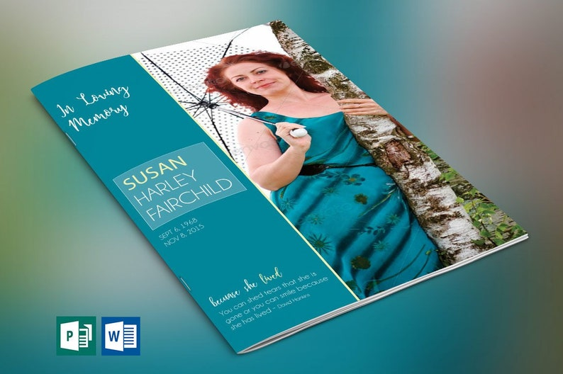 Teal Funeral Program Word Publisher Template  4 Pages  image 0