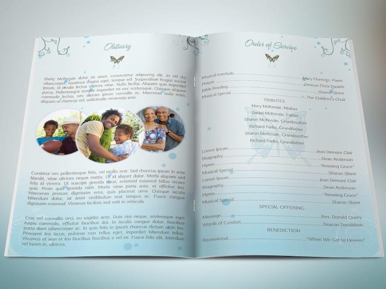 Blue Princess Funeral Program Word Publisher Template