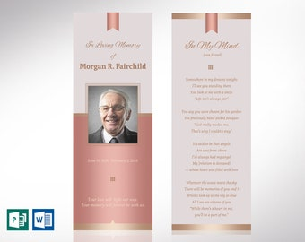 """Rose Gold Funeral Bookmark Word Publisher Template 