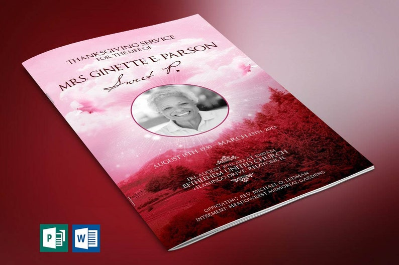 Pink Sky Funeral Program Word Publisher Template  8 Pages  image 0