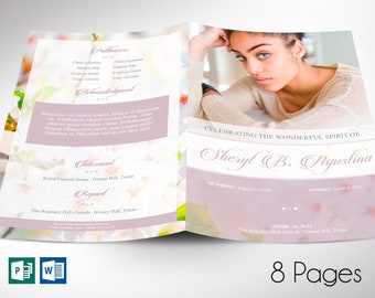 """Blossoms Funeral Program Word Publisher Template 