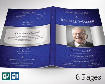 """Blue Silver Funeral Program Word Publisher Template 