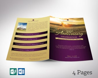 """Church Anniversary Program Word Publisher Template - 4 Pages 