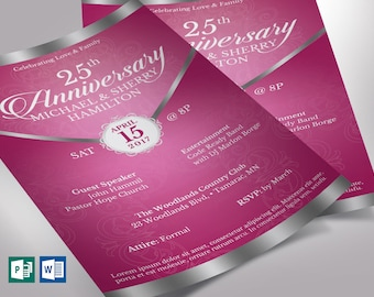 """Pink Silver Anniversary Gala Flyer Word Publisher Template   2 Sizes Included   8.5""""x11"""", 5.5""""x8.5"""""""