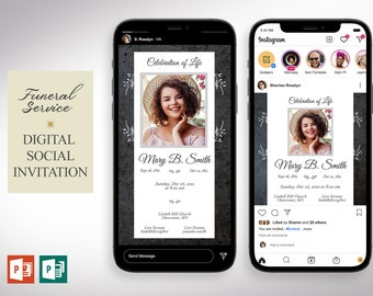 Graystone Funeral Digital Invitation PowerPoint Publisher Template | 2 Sizes | 1080x1080 Pixels (square) and 1080x1920 Pixels (rectangle)