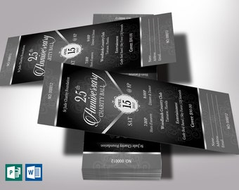 """Black Silver Anniversary Banquet Ticket Word Publisher Template   Size: 3""""x7"""""""