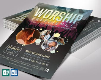 """Worship Concert Flyer Word Publisher Template 