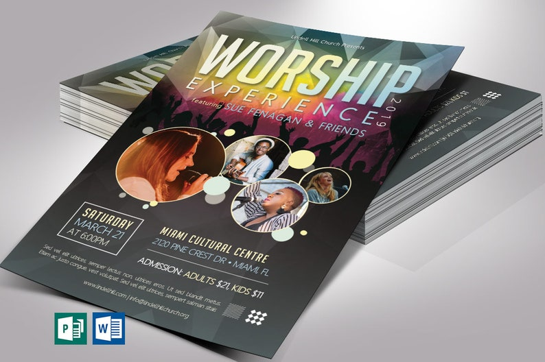 Worship Concert Flyer Word Publisher Template  4 Background image 0