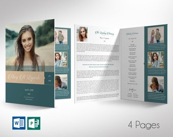 """Remember Teal Cream Funeral Program Word Publisher Large Template 