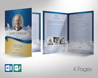 """Blue Ribbon Funeral Program Large Word Publisher Template   4 Pages   Print Size 11""""x17""""   Bi-fold to 8.5""""x11"""""""