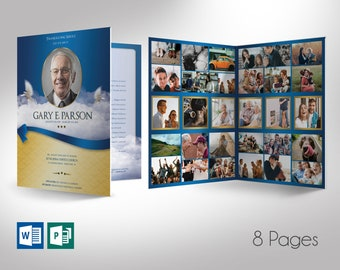 """Blue Ribbon Funeral Program Large Word Publisher Template 