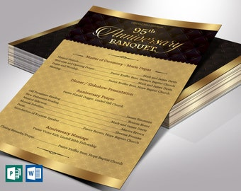 "Golden Church Anniversary Program One Sheet Word Publisher Template | 5 Backgrounds | 5.5""×8.5"""