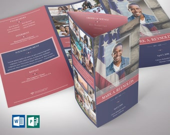 """American Military Legal Trifold Funeral Program Word Publisher Template V1   Editable Colors   Print Size: 8.5""""x14"""""""