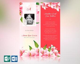 "Petals Memorial Bookmark Word Publisher Template | Size: 2.75""x8"""