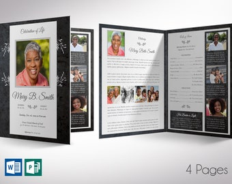 """Graystone Tabloid Funeral Program Word Publisher Template 