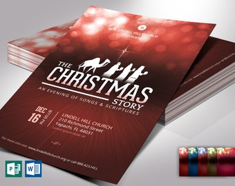 """Red Christmas Story Flyer Word Publisher Template 