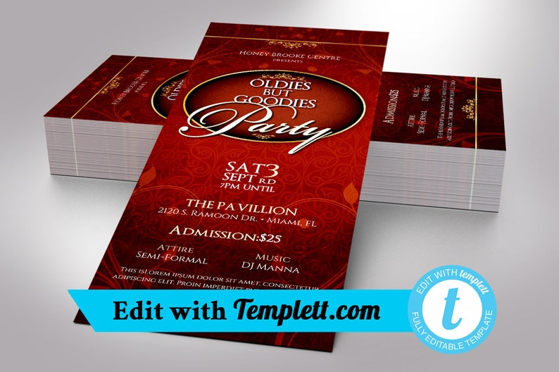 """Oldies Goodies Party Ticket Templett - Editable in any web browser on  templett com 
