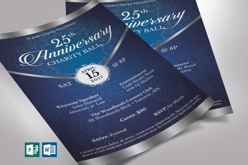 Blue Silver Anniversary Gala Flyer Word Publisher Template  image 0
