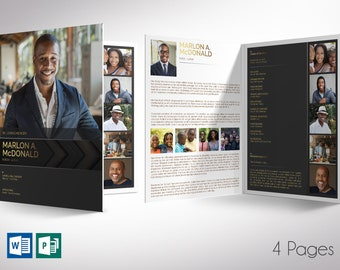 """Gold Luxury Funeral Program Tabloid Word Publisher Template   4 Pages   Editable Colors   Print Size 11""""x17""""   Bi-fold to 8.5""""x11"""""""