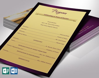 """Church Anniversary Program One Sheet Word Publisher Template 