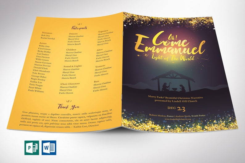 Emmanuel Christmas Program Word Publisher Template  4 Pages  image 0