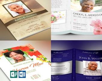 "Funeral Program Template Bundle | Word Publisher | Best Sellers V1 | 4 Funeral Programs | Print Size 8.5""x11"" | Bi-Fold Size 5.5""x8.5"""