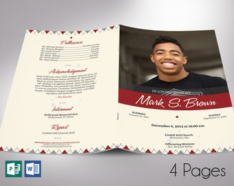 """Argyle Funeral Program Word Publisher Template 
