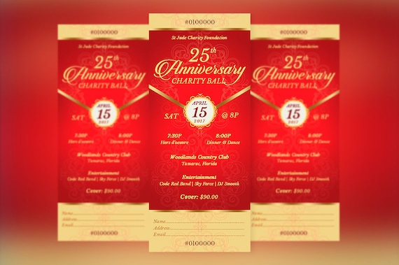 red gold anniversary banquet ticket word publisher template etsy