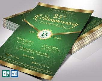 """Green Gold Anniversary Flyer Word Publisher Template 