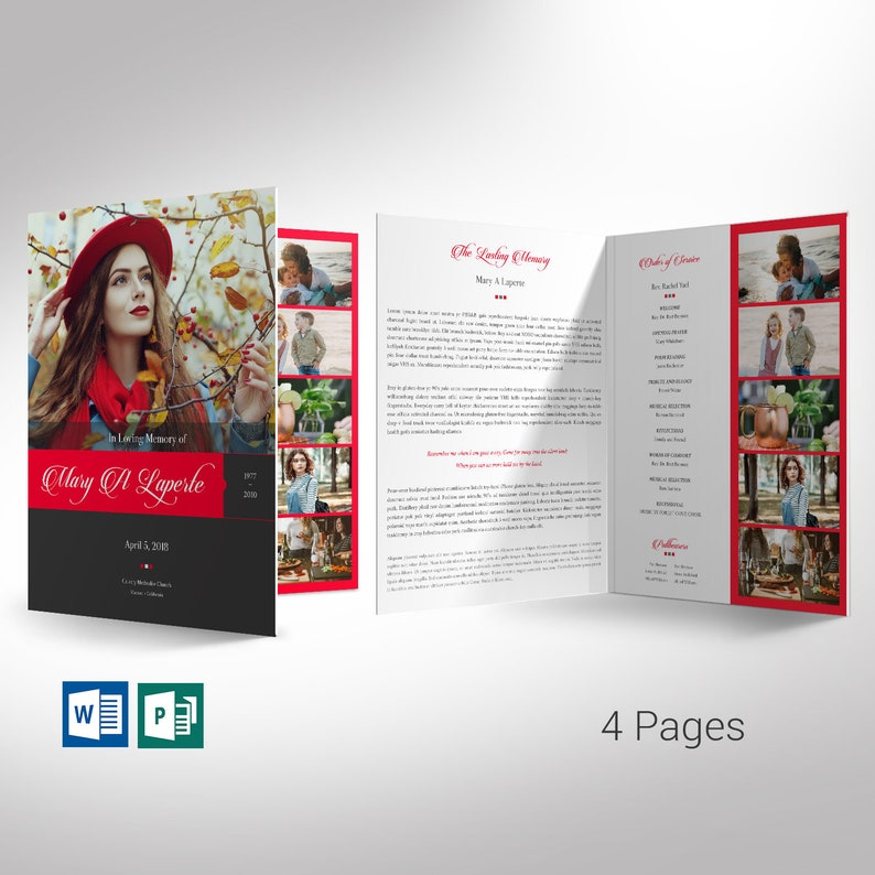 Remember Red Funeral Program Word Publisher Large Template  4 image 0