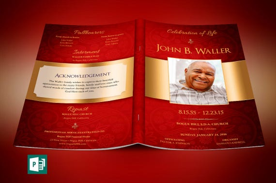 Red Gold Dignity Funeral Program Publisher Template Etsy